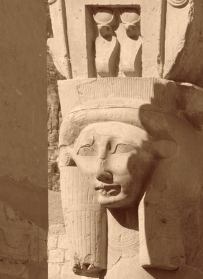 Hathor sculpture detail