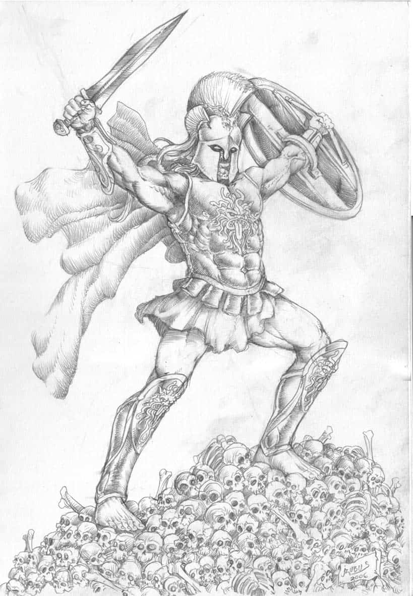 Greek God Ares Drawing Born of Zeus and Hera  Ares
