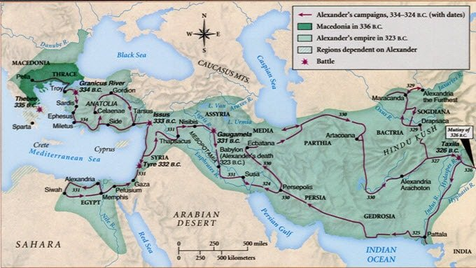 map of alexander conquest