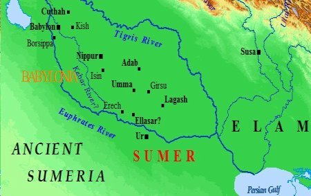 Ancient map of Mesopotamia