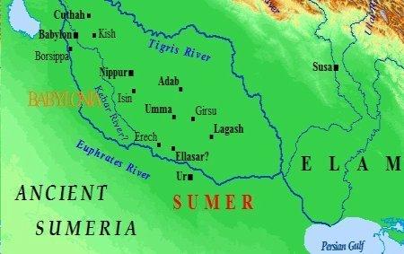 ancient map of Mesopotamia