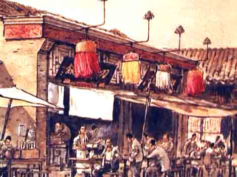 Noodle shop in ancient China