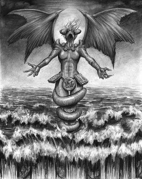 Tiamat, the goddess of salt sea and mother of several deities