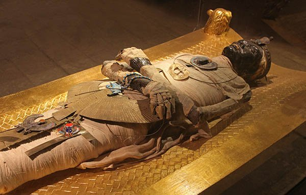 Ancient Egyptian mummy body preserved by mummification