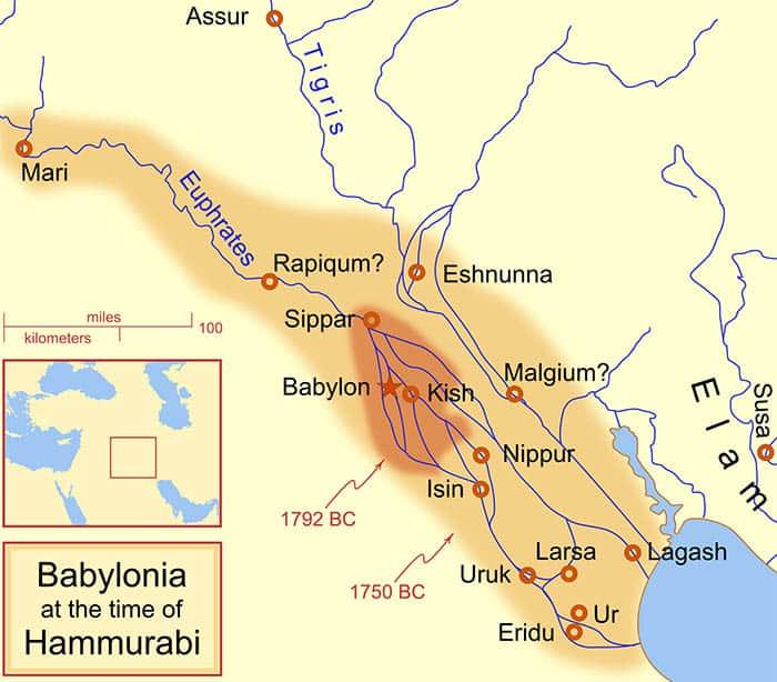 Babylonian territory under Hammurabi