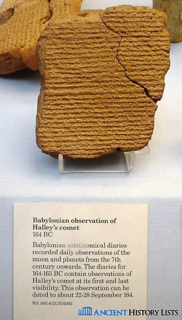 Babylonian tablet recording Halley's comet