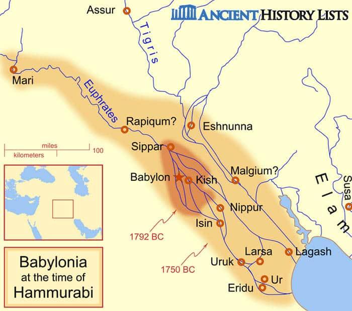 Map of Babylonia at the Time of Hammurabi