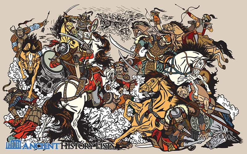 Mongol battle under Genghis Khan