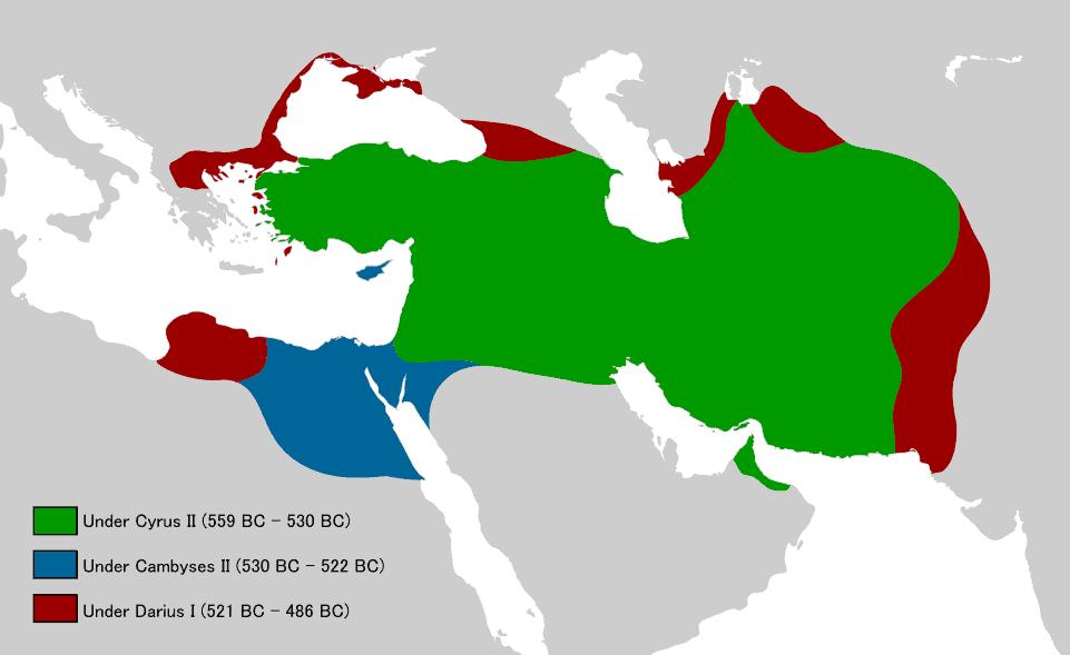 Achaemenid Empire under different kings